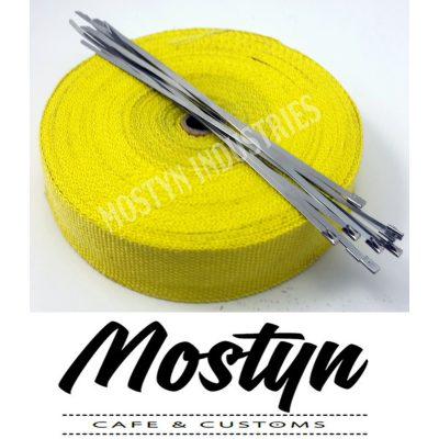 Yellow Exhaust Heat Wrap 15m - 30m