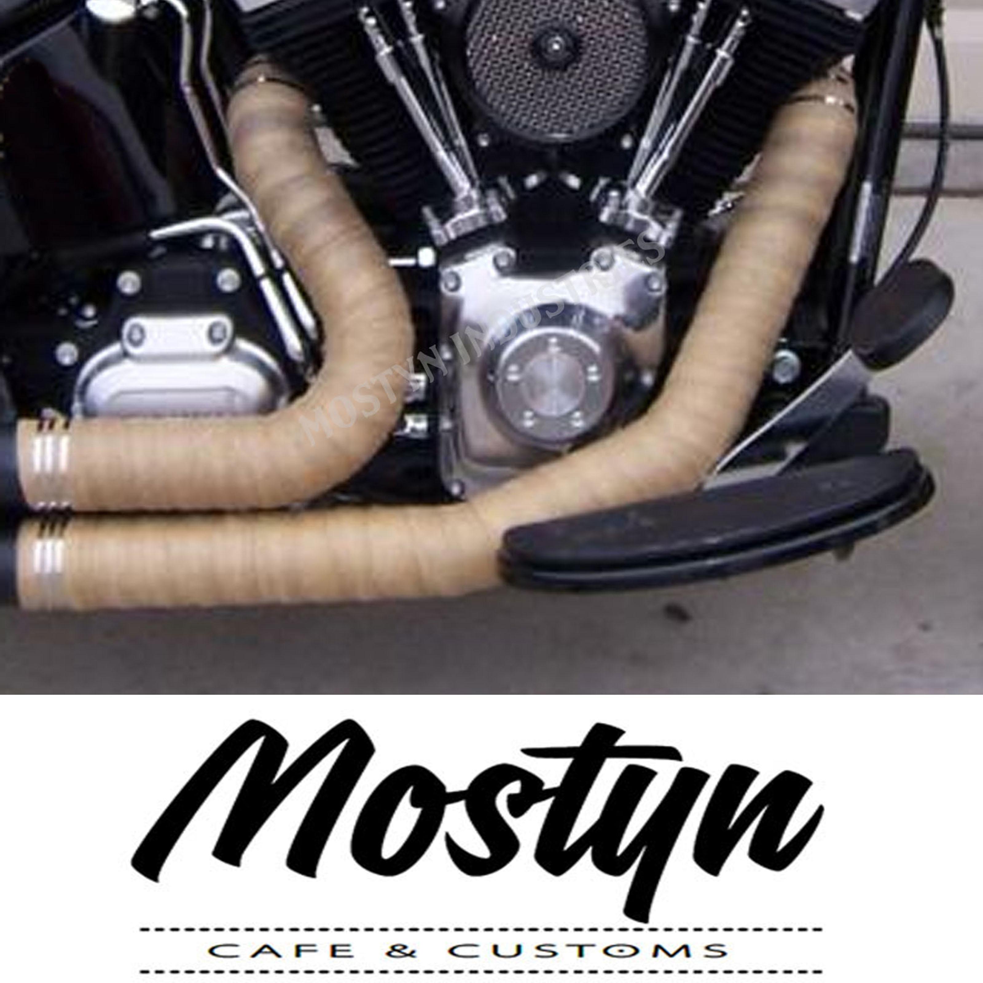 Exhaust Wrap Tan 2 Mostyn Custom Motorcycles